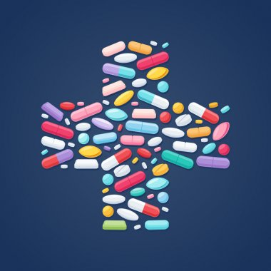 Colorful pills in cross shape background.