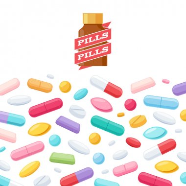 Colorful pills and bottle vector background.