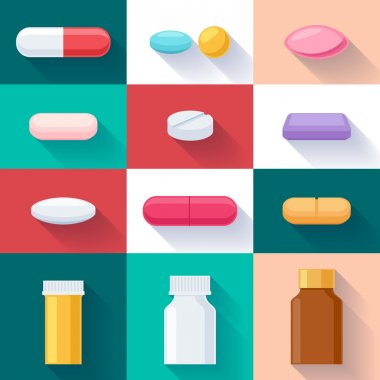 Colorful pills and bottles icons set. Flat style.