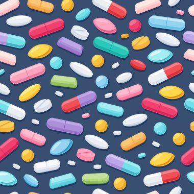 Colorful pills seamless pattern. Vector dark background.