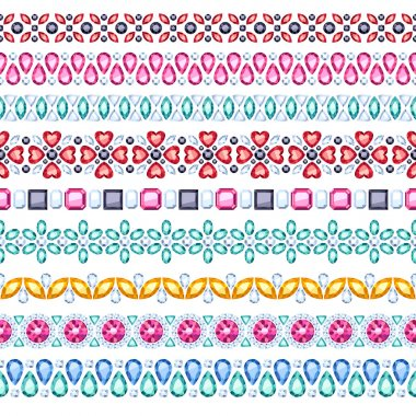 Colorful gemstones seamless horizontal borders set.
