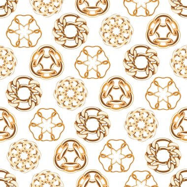 Abstract golden chains circles seamless background.