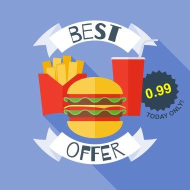 Fast food poster vector illustration - burger, cola, fries.