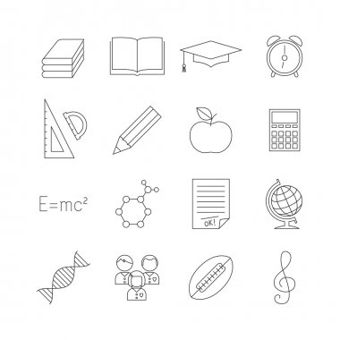 School education outline icon set.