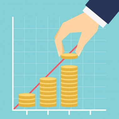 Growing income graph vector illustration.