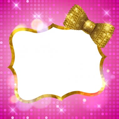 Glitter glamour shine background frame with mosaic border and golden sequin bow. Girly sparkling template for greeting card design stock vector