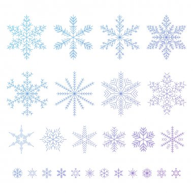 Set of outline snowflakes vector illustration.