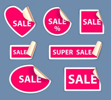 Set of sale stickers - golden foil reverse side.