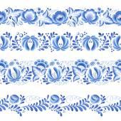 Modré květiny květinové ruský porcelán krásná lidovému ornamentu