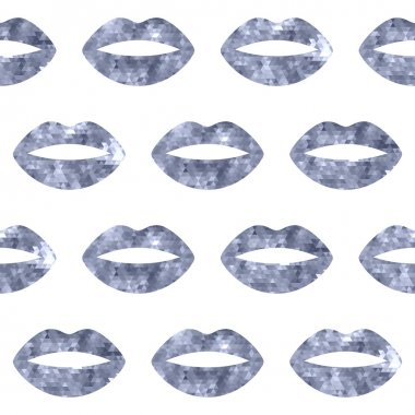 Silver woman lips seamless pattern. Mosaic faceted background vewctor illustration clip art vector