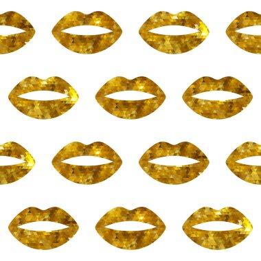 Golden woman lips seamless pattern.
