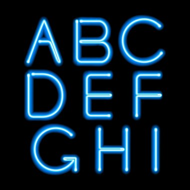 Blue neon light glowing letters set.