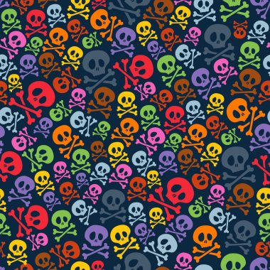 Cute colorful skulls and crossbones seamless pattern. Halloween background vector illustration stock vector