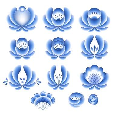 Blue flowers floral russian porcelain beautiful folk ornament parts.