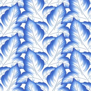 Blue leaves floral russian porcelain beautiful folk ornament.
