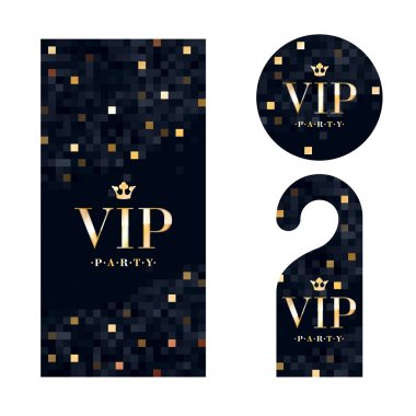 VIP zone members premium invitation card, warning hanger and round label badge. Black and golden design template set. Pixel mosaic texture stock vector
