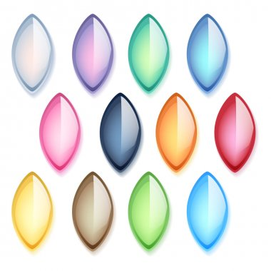 Colorful oval pearl glass gemstones set.