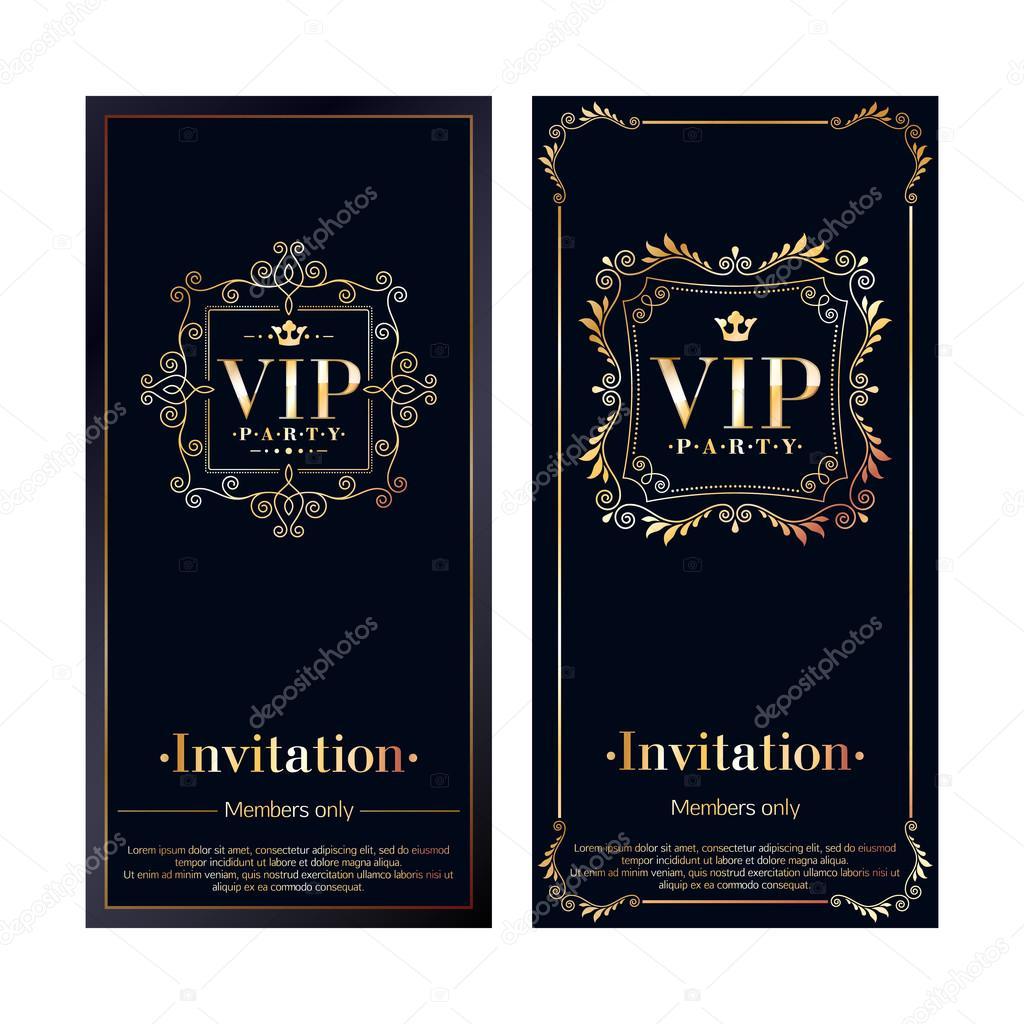 Invitación VIP tarjetas de plantillas de diseño premium — Vector ...