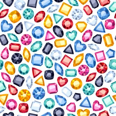 Seamless gemstones pattern on white.