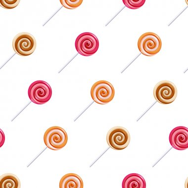 Assorted lollipop spiral candies seamless background.