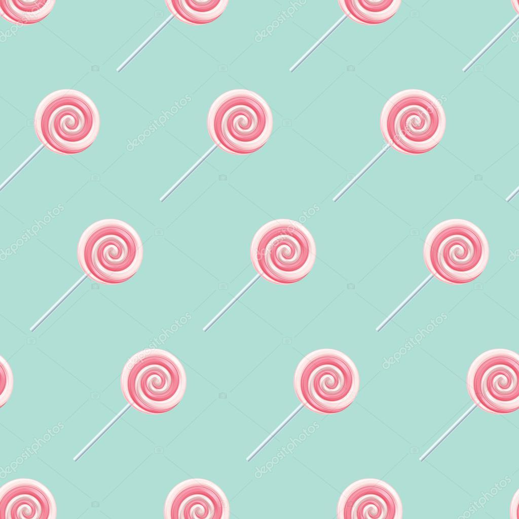 Pink cream lollipop spiral candies seamless background.