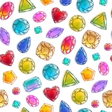 Seamless colorful hand drawn gemstones  pattern on white.