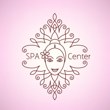 Spa beauty salon wellness center icon logo.