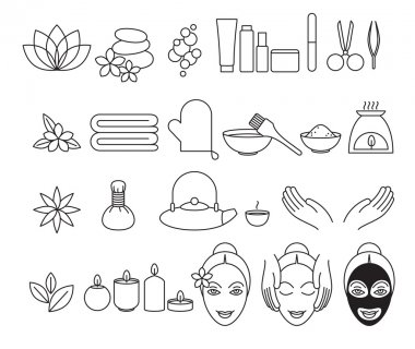Spa beauty salon wellness center icons set.