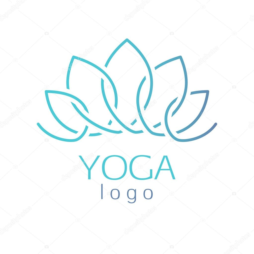 Beautiful turquoise outline lotus flower logo sign.