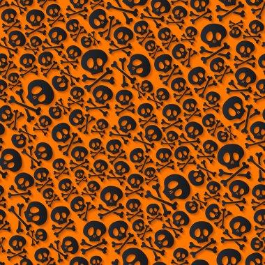 Cute black skulls and crossbones seamless pattern.