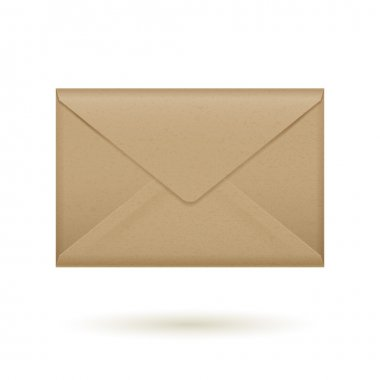 Realistic brown craft paper closed envelope icon template. Vector illustration stock vector
