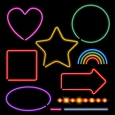 Neon signs set vector illustration.