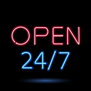 Neon sign open vector illustration.