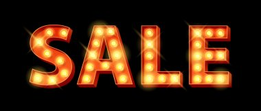 Sale word lighr bulbs letters sign vector illustration. Good for seasonal offers design clip art vector