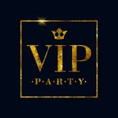 VIP party abstract mosaic faceted letters illustration.