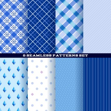 Blue abstract seamless patterns set.