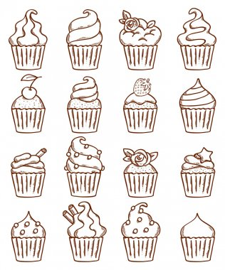 Sketch doodle style cupcakes set.