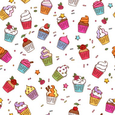 Colorful sketch doodle style cupcakes pattern.