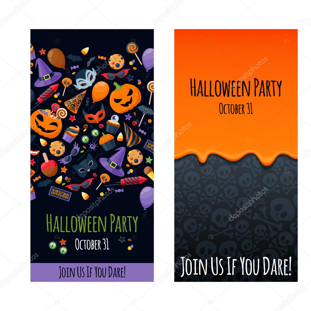 Halloween party invitation poster card design template. — Stock ...