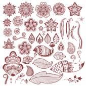 Fotografia Mehndi hennè tatuaggio fiori e foglie