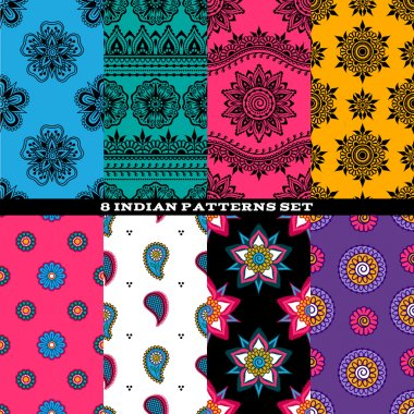 Colorful indian eastern asian patterns set.