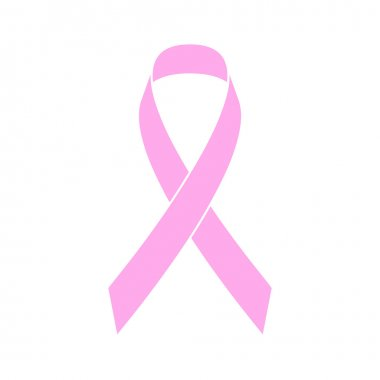 Pink ribbon breast cancer awareness symbol.