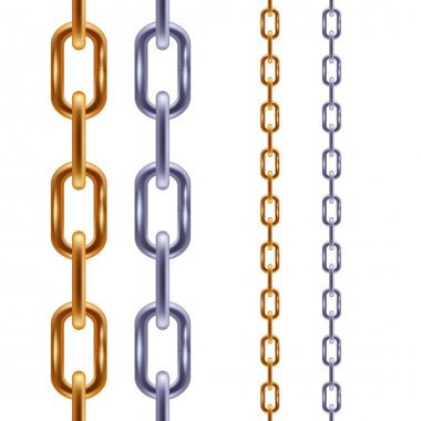 Realistic golden and steel chains seamless borders.