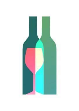 Wine bottles and glass symbol logo design.