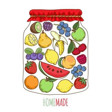 Home made fruit berry jam preserves conceptual illustration.