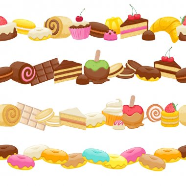 Set of sweet food seamless horizontal borders.