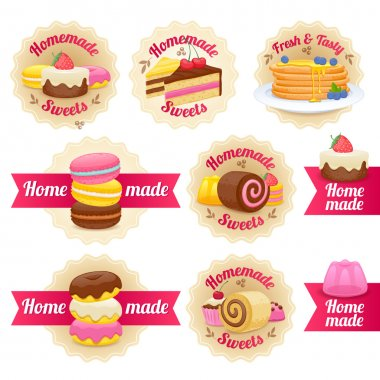 Homemade sweets labels badges set.