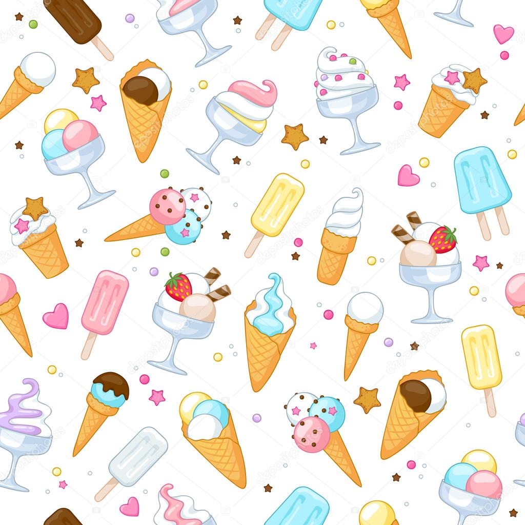 Sweet Ice Cream Flat Colorful Seamless Pattern Vector: Colorful Sweet Ice Cream Icons Background.