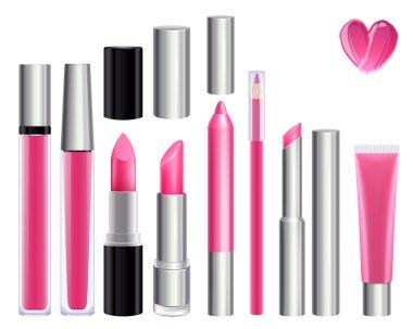 Make-up set for lips. Pink color.