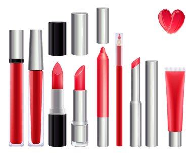 Make-up set for lips. Red color.
